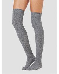 Baserange - Gray Over The Knee Socks Grey Melange - Lyst
