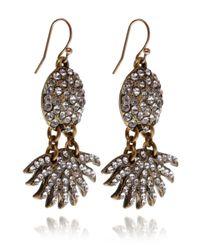 Lulu Frost - Metallic Swarovski Crystal and Brass Sunburst Pave Drop Earrings - Lyst