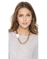 Gemma Redux - Pink Offset Stone Necklace - Lyst