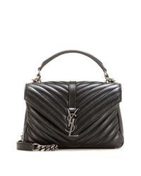 Saint Laurent - Black Classic Monogramme Quilted Shoulder Bag - Lyst