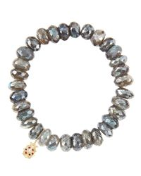 Sydney Evan | Metallic 10Mm Mystic Labradorite Beaded Bracelet With 14K Gold/Diamond Medium Ladybug Charm (Made To Order) | Lyst