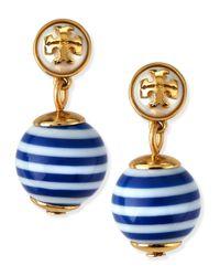 Tory Burch | Blue Saher Logo Drop Earrings | Lyst
