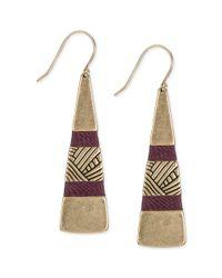 The Sak - Metallic Goldtone Wine Thread Paddle Drop Earrings - Lyst