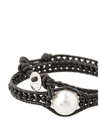 Colana | Black Leather Wrap Bracelet With Pearl | Lyst