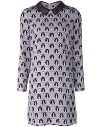 Victoria, Victoria Beckham | Gray Printed Dress | Lyst