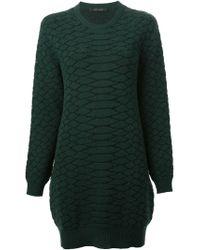 Cedric Charlier - Green Snakeskin Pattern Dress - Lyst