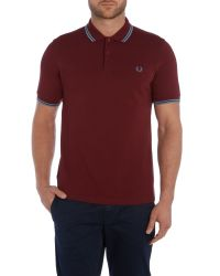 Stussy | Red Twin Tipped Slim Fit Polo Shirt for Men | Lyst