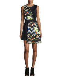 MILLY | Multicolor Zigzag-print Asymmetrical Dress | Lyst