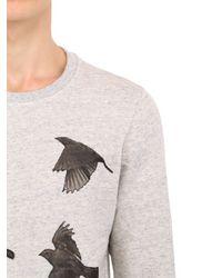 Christian Pellizzari - Gray Cotton Sweatshirt With Silk Birds for Men - Lyst