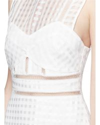 Self-Portrait - White Gingham Voile Pleat Peplum Hem Dress - Lyst