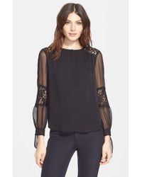 Rebecca Taylor | Black Long Sleeve Silk And Lace Blouse | Lyst
