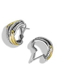 David Yurman | Yellow Labyrinth Double-loop Earrings With Diamonds & Gold | Lyst