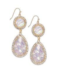 INC International Concepts - Metallic Goldtone Opalcolored Stone Teardrop Earrings - Lyst