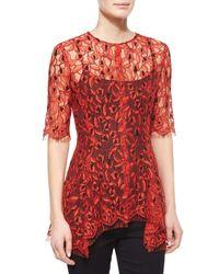 Lela Rose - Red Asymmetric Lace Top - Lyst