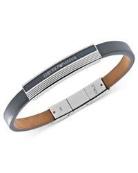 Emporio Armani | Metallic Gray Leather And Stainless Steel Logo Plaque Bracelet Egs1796040 for Men | Lyst
