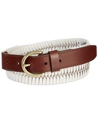 Fossil - Brown Braided Leather Jean Belt - Lyst