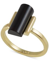 French Connection | Metallic Gold-Tone Cylinder Stone Ring | Lyst