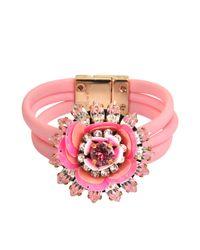 Shourouk | Pink Flower Bracelet | Lyst