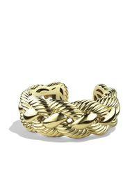 David Yurman | Metallic Woven Cable Wide Cuff in Gold | Lyst
