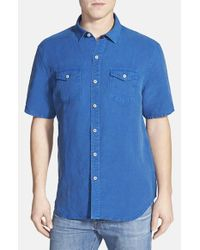 Tommy Bahama | Blue 'sand Linen' Original Fit Short Sleeve Linen Blend Shirt for Men | Lyst