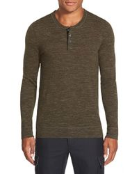VINCE | Green 'jasper' Wool & Linen Henley for Men | Lyst