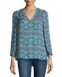 Joie - Blue Avonmora Paisley-print Silk Top - Lyst