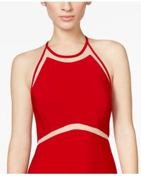 Xscape | Red Illusion Striped Halter Gown | Lyst