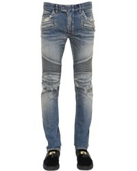 Balmain | Blue 16.5cm Destroyed Stretch Denim Jeans for Men | Lyst