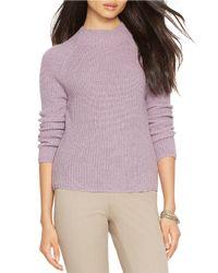 Lauren by Ralph Lauren | Purple Petite Ribbed Merino Wool Sweater | Lyst