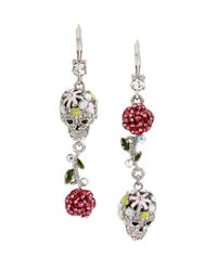 Betsey Johnson | Multicolor Pave Skull And Rose Double Drop Earring | Lyst