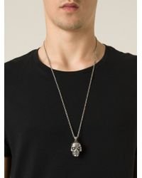 Alexander McQueen - Metallic Skull Pendant Necklace for Men - Lyst