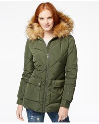 Tommy Hilfiger - Green Faux-fur-trim Quilted Coat - Lyst