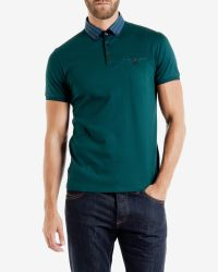 Ted Baker | Blue Checked Collar Polo Shirt for Men | Lyst