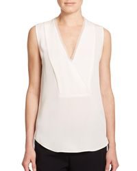 Theory - White Taneah Silk Top - Lyst