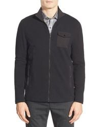 Michael Kors | Black Zip Front Fleece Jacket for Men | Lyst
