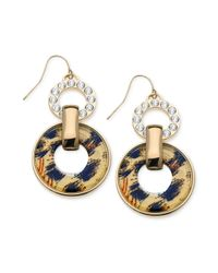 Guess - Metallic Goldtone Leopard and Crystal Double Ring Earrings - Lyst