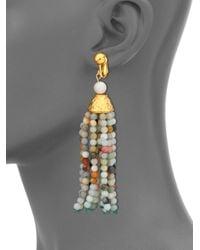 Kenneth Jay Lane | Multicolor Beaded Tassel Clip-on Earrings | Lyst