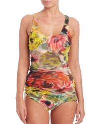 Fuzzi - Blue Two-piece Floral Tulle Overlay Tankini - Lyst