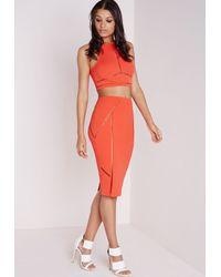 Missguided - Ladder Trim Bodycon Midi Skirt Orange - Lyst