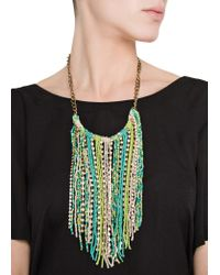 Mango   Green Beads Cascading Necklace   Lyst