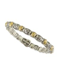 Konstantino | Metallic Sterling Silver/18k Gold Dotted Clasp Bracelet | Lyst