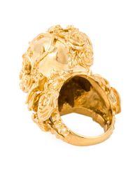 Alexander McQueen   Metallic Floral Skull Cocktail Ring   Lyst