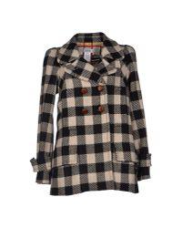 Sonia by Sonia Rykiel | Black Check Pea Coat | Lyst