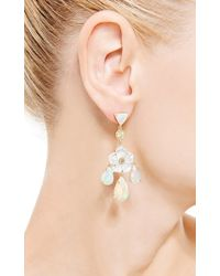 Nina Runsdorf - White One Of A Kind Mother Of Pearl Flower Chandelier Earrings - Lyst