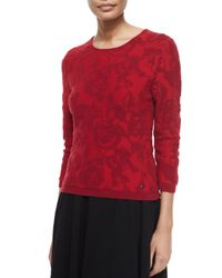 ESCADA - Red 3/4-sleeve Floral Intarsia Pullover Top - Lyst