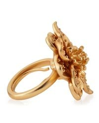 Kenneth Jay Lane | Metallic Adjustable Golden Flower Ring | Lyst