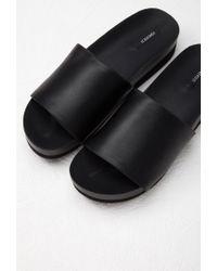 Forever 21 - Black Faux Leather Platform Slides - Lyst
