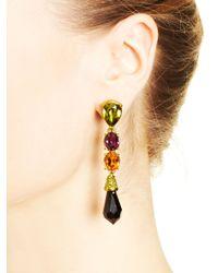 Oscar de la Renta | Black Diamond Pendant Drop Earrings | Lyst