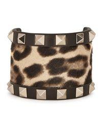 Valentino | Black Rockstud Calf Hair And Leather Bracelet | Lyst