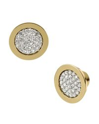 Michael Kors | Metallic Gold-tone Pave Slice Stud Earrings | Lyst